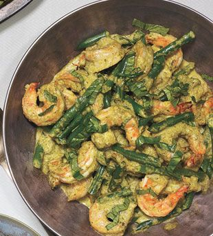 Shrimp and Coconut Curry with Green Beans (use leftovers in quesadillas)