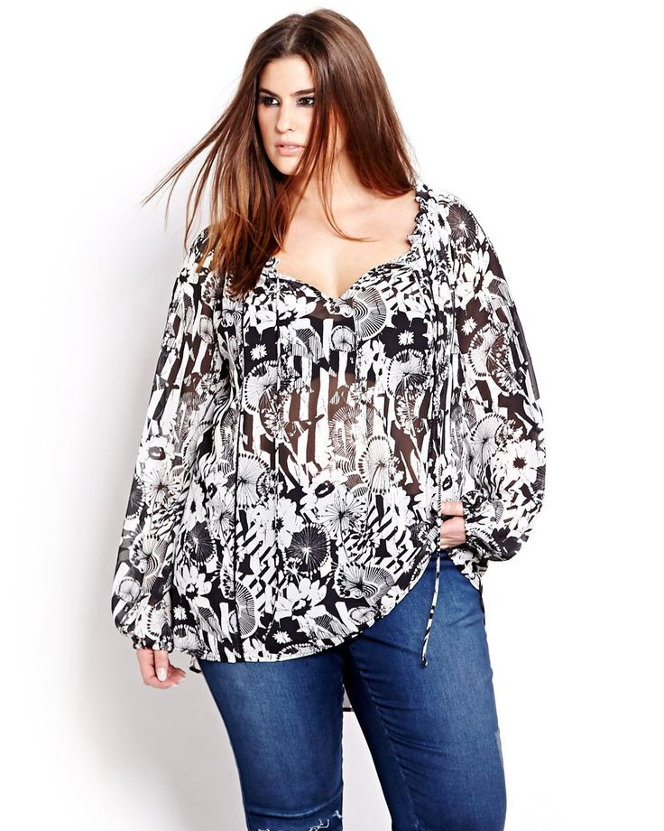 L&L Printed Peasant Blouse  | Addition Elle