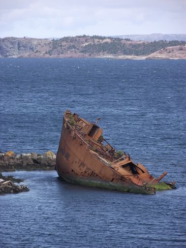 Sunken Whaler ship. Scene Conception Harbour, Newfoundland