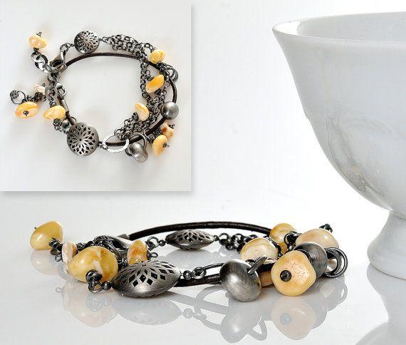 Boho Amber Bracelet set of the two bracelets White by AnnaBujak