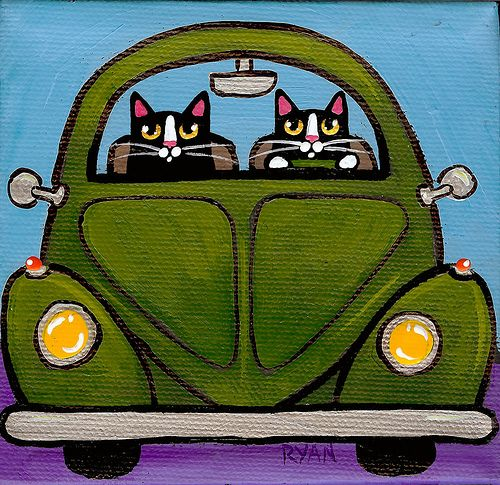 WHAT COULD BE BETTER? Cats & a VW !little green vw by Kilkennycat, via Flickr
