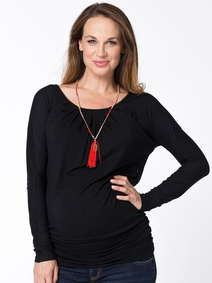 Essence Long Sleeve Tunic in Black from breastmates.co.nz -- A versatile two-in-one tunic that can be worn both long as a tunic or ruched up as a top. Stretchy fabric is comfortable over your growing bump. Hidden zips in the side seams conceal breastfeeding openings.