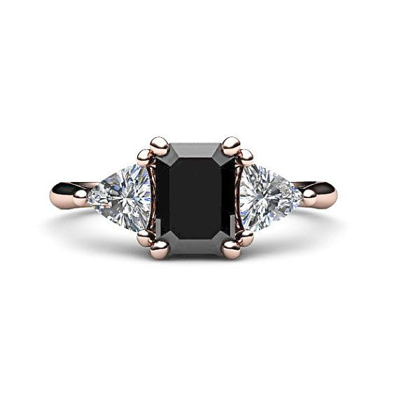 14K Black Diamond Engagement Ring Vintage Black by RareEarth hahaha I don't even have a bf fuck it I'll by it and marry myself !!