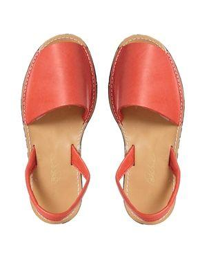 Park Lane Red Leather Sling Flat Sandals