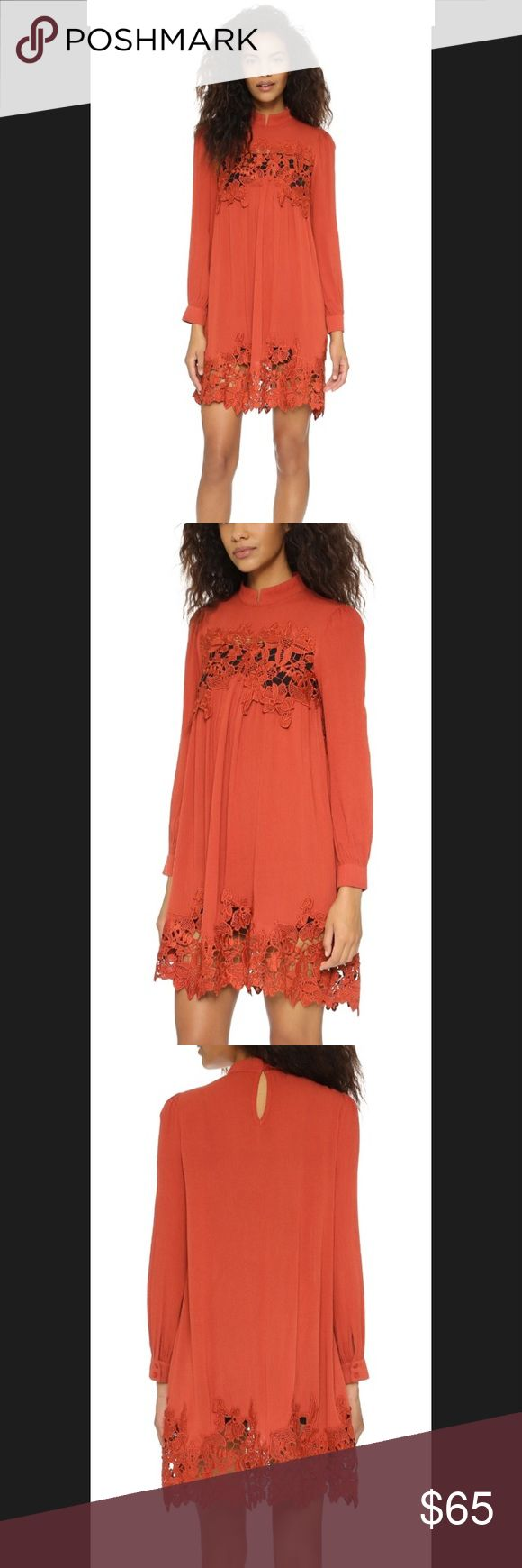 re:named orange mini dress with high neckline See pics for description. Brand new with tag. Purchased online and couldn't return it. The lace on this is lovely!! Anthropologie Dresses Mini