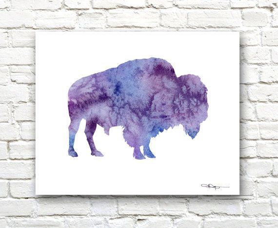 Buffalo Art Print - Abstract Watercolor Painting - Wall Décor  This is a professional quality giclee print from my original hand painted watercolor