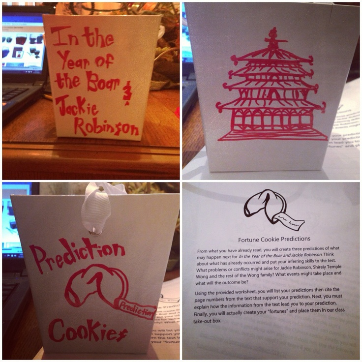 "A making prediction center for In the Year of the Boar and Jackie Robinson. Home made Chinese takeout box to put our ""fortunes"" in."
