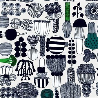 With a pattern of vegetables, flowers and mushrooms, Maija Louekari has captured summer in this fabric from Marimekko.