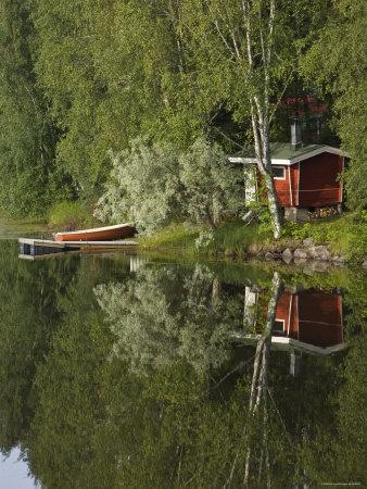 Outdoor lake front sauna