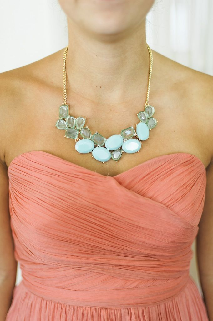 Love this mint colored statement necklace!! Paired with the coral bridesmaids dress it looks gorgeous! Cayla & Pete's Annapolis Waterfront Marriott wedding by Charlotte Jarrett Events
