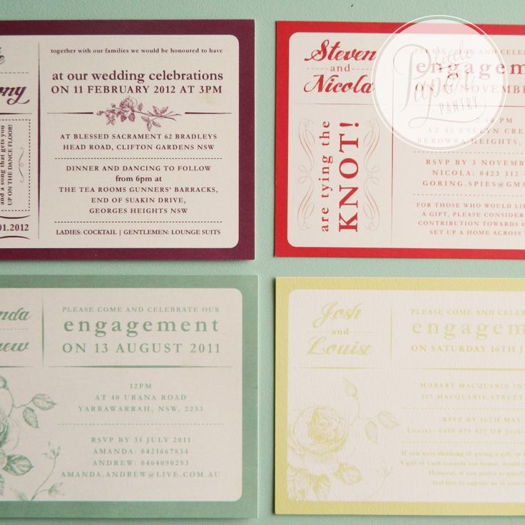 A variety of colourful cards perfect for save the date cards and wedding invitations.