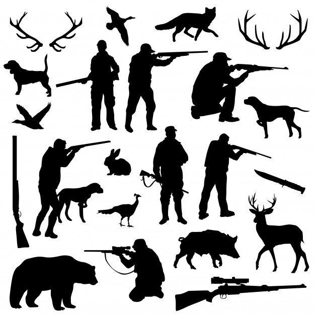 Hunter Forest Animal Silhouette Clip Art Animal Silhouette Silhouette Clip Art Hunting Drawings