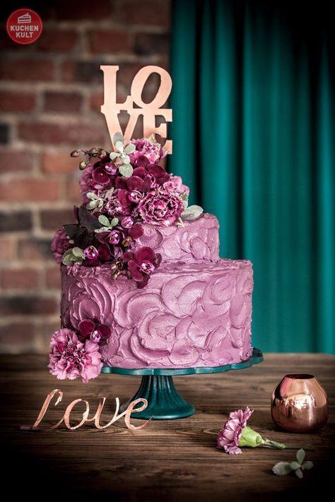 Hochzeitstorte, urban, violett, Orchidee