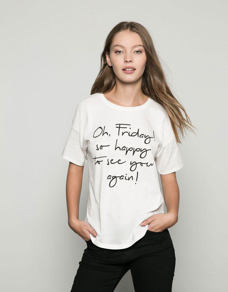 Bershka text print T-shirt - T- Shirts - Bershka United Kingdom