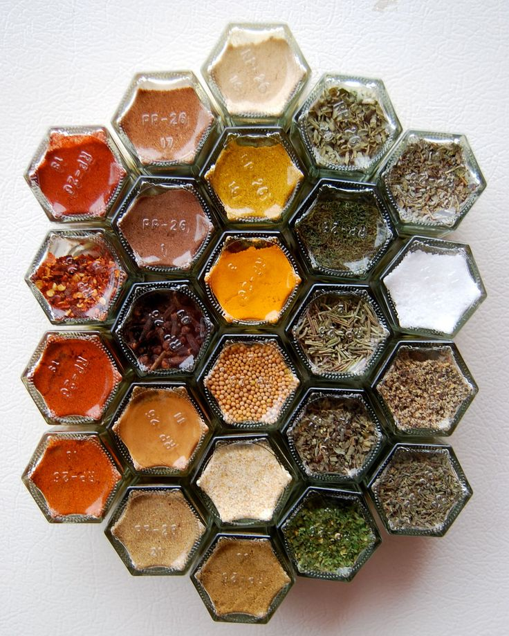 Honeycomb Jam Jars With Magnets On The Lids | Spice Storage