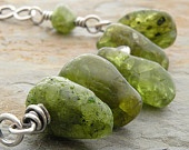Peridot Necklace, Sterling Silver, Green, Hill Tribe Silver, Eye Beads, August Birthstone