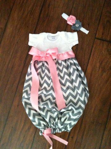 Chevron Baby Gown and Matching Headband by TutusByCheri on Etsy