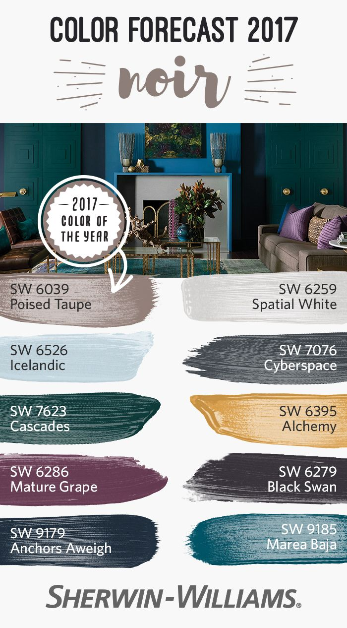 At the center of the romanticism that drives the Noir palette, we find our 2017 Color of the Year, Poised Taupe SW 6039. It's a timeless neutral, a complex combination of warm brown and cool gray that anchors us among the Nordic blues and golden yellows of this sensuous palette. In this palette, you can also find Icelandic SW 6526, Cascades SW 7623, Mature Grape SW 6286, Anchors Aweigh SW 9179, Spatial White SW 6259, Cyberspace SW 7076, Alchemy SW 6395, Black Swan SW 6279 and Marea Baja SW…