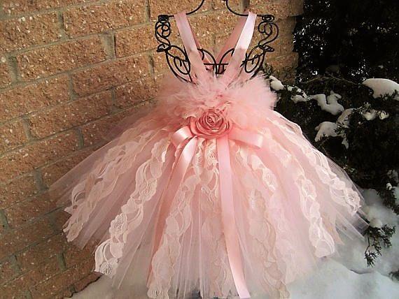 BLUSH PINK LACE  Pale Pink Tutu Dress  Flower Girl Gown