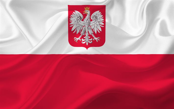 Download wallpapers Flag of Poland, Polish flag, Poland, Europe, silk