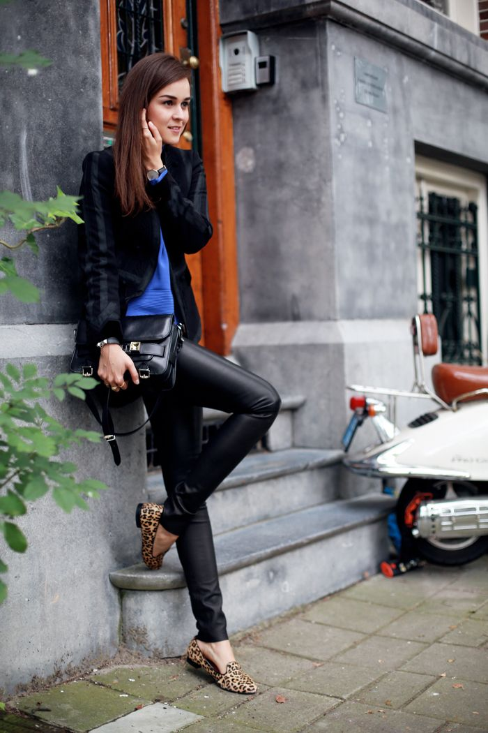 Style Scrapbook. Leather trousers. Whoever said black & blue don't go?!
