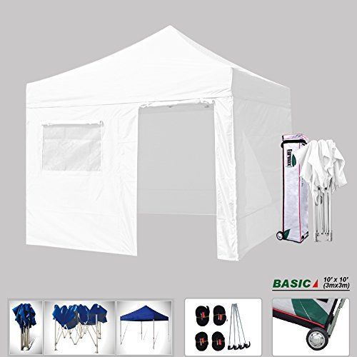 Eurmax Basic 10 X 10 Pop up Canopy, with 4 Removable Zipper End Sidewalls, Instant Outdoor Party Tent Shade Gazebo with Roller Bag (White) ** Click image for more details.