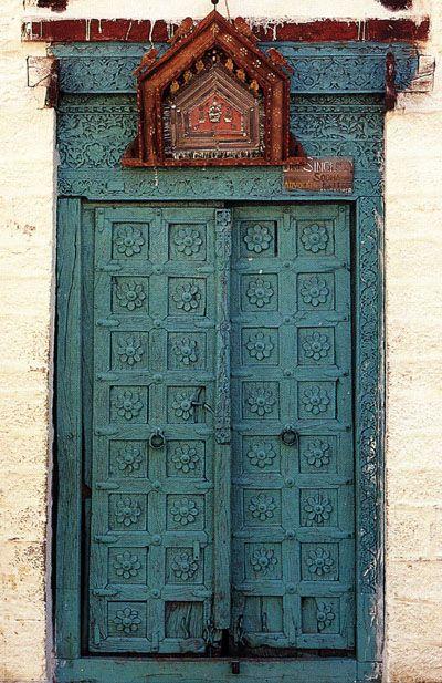 Carved wood door - Jaisalmer, India