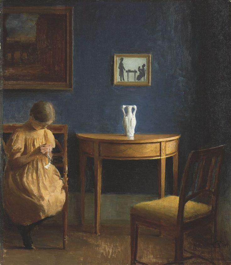 Girl in an interior, Peter Vilhelm Ilsted. Danish (1861 - 1933)