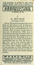 1939-40 W.D. & H.O. Wills Association Footballers #7 Harry Betmead Back