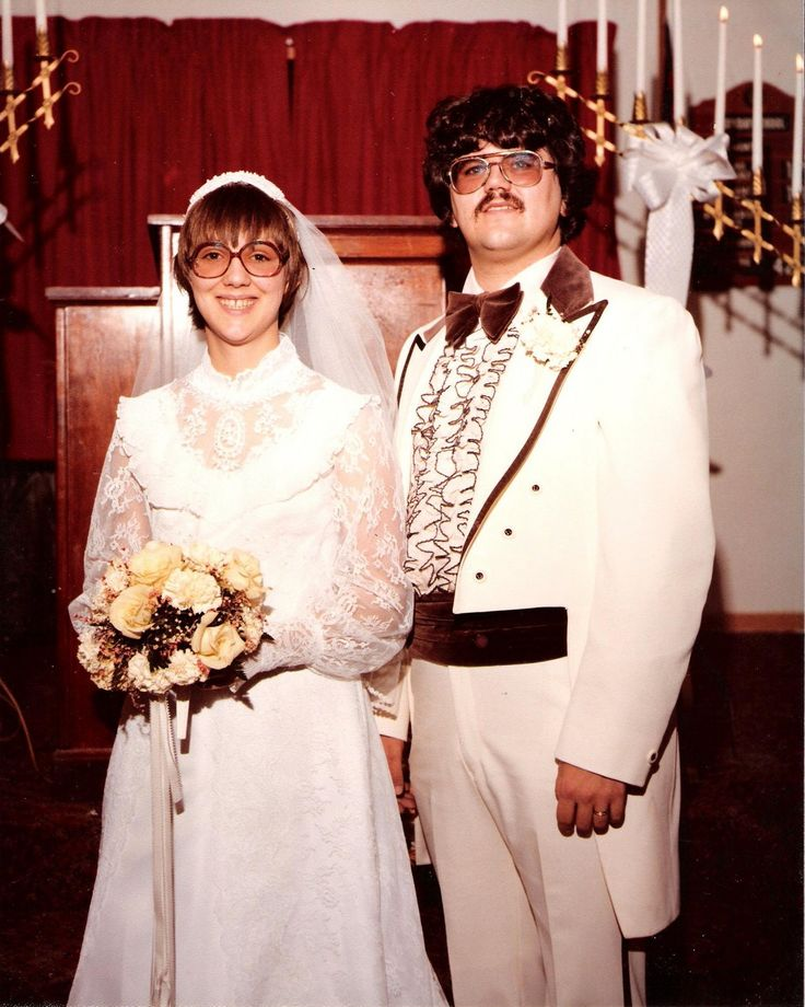 Real Retro Weddings: 1979 Wedding Couple With Glasses