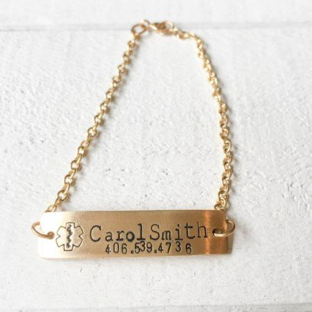 Brass w/Gold Rectangle Charm Medical Bracelet - tap to personalize and get yours