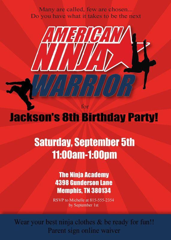 American Ninja Warrior Invitation -- Ninja Birthday Invitation -- Ninja Warrior Birthday Party Invitation printable, personalized