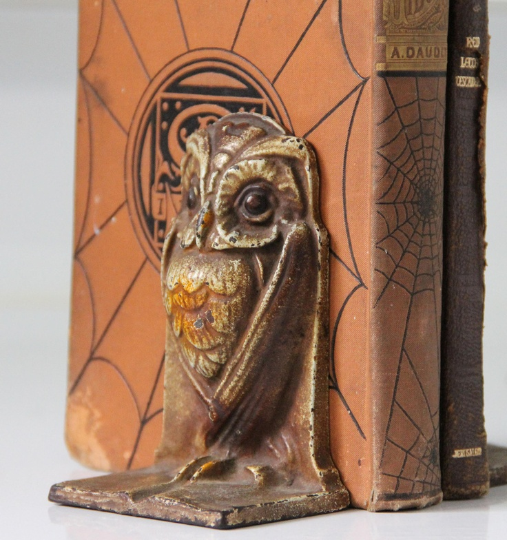 Antique Art Nouveau Deco Wise Owl Bookends Cast Iron Bronze Painted Bradley  Hubbard Heavy Goth Gothic