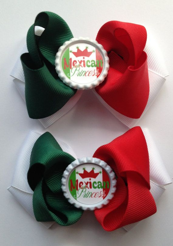 Mexican flag hair bow set by NoanyDreamsBow on Etsy
