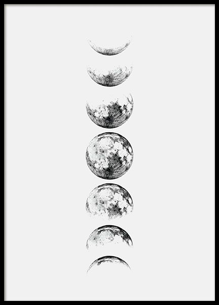 Moon Phase Grey, poster in the group Posters & Prints / Sizes / 30x40cm | 11,8x15,7