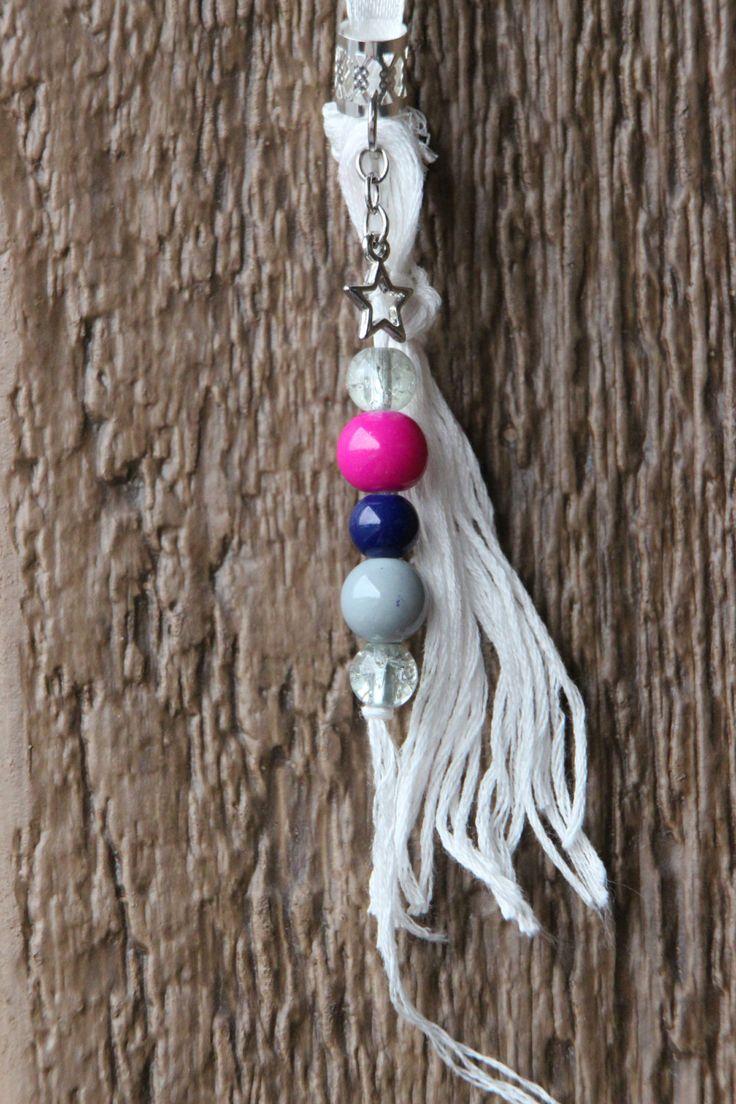 Dreads Bijoux Hippie Recyclé Étoile argent perle de plastique bleu rose grise fil blanc attache perle argent fait main Québec de la boutique DreadsQuebec sur Etsy