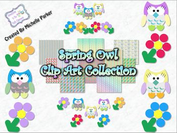 """""""Spring Owl"""" clip art collection from Adventures In The Math Classroom.  Available on TpT."""