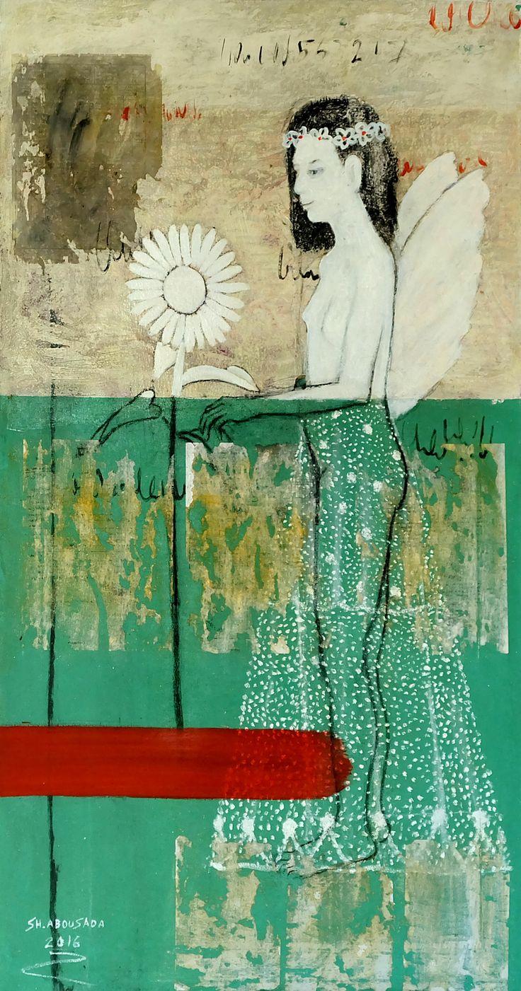 Sunflower عباد الشمس Mixed media on canvas 140 x 75 cm 2016