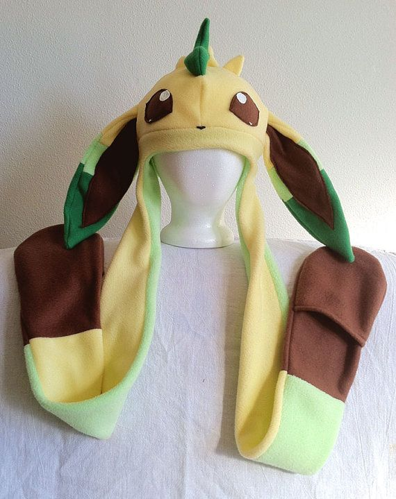 Leafeon Fleece Pokemon Hat by HatShenaniganz on Etsy