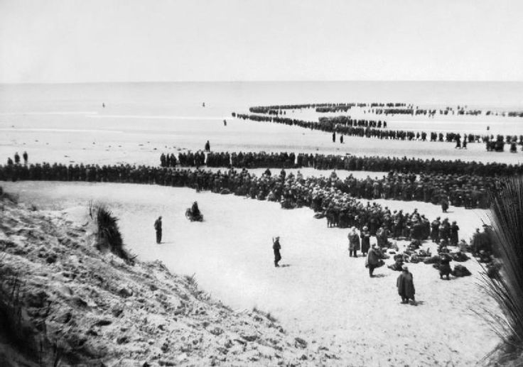 British troops await evacuation from the beaches of Dunkirk, France, May 1940.