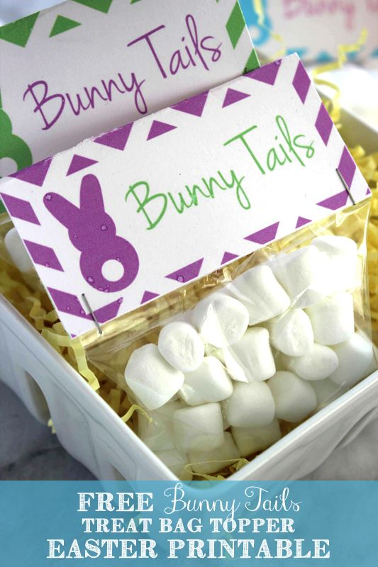 Bunny Tails free printable treat bag toppers for Easter. These are the perfect addition to any easter basket! The kids are going to love these.