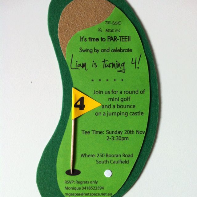 "Mini golf party invitation ""it's time to Par-Tee...Landon's turning Fore"""