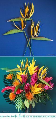 DIY Crepe Paper Bird of Paradise - www.LiaGriffith.com - #crepepaperrevival #crepepaperflowers #crepepaper #birdofparadise #paperflowers #paperflower #tropicalflowers #papertropicalflowers