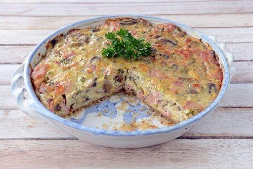 Bacon and mushroom crustless quiche