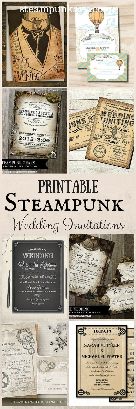 Printable Steampunk Wedding Invitations                                                                                                                                                                                 Más