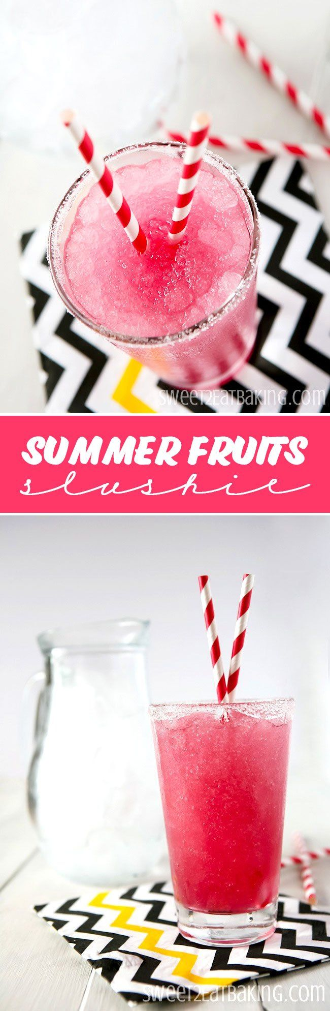 Summer Fruits Slushie Recipe by Sweet2Eat Baking | This summer fruits flavoured slushie is the perfect way to beat the heat this summer. Quick and easy to make at home. You and your kids will love these slushies!