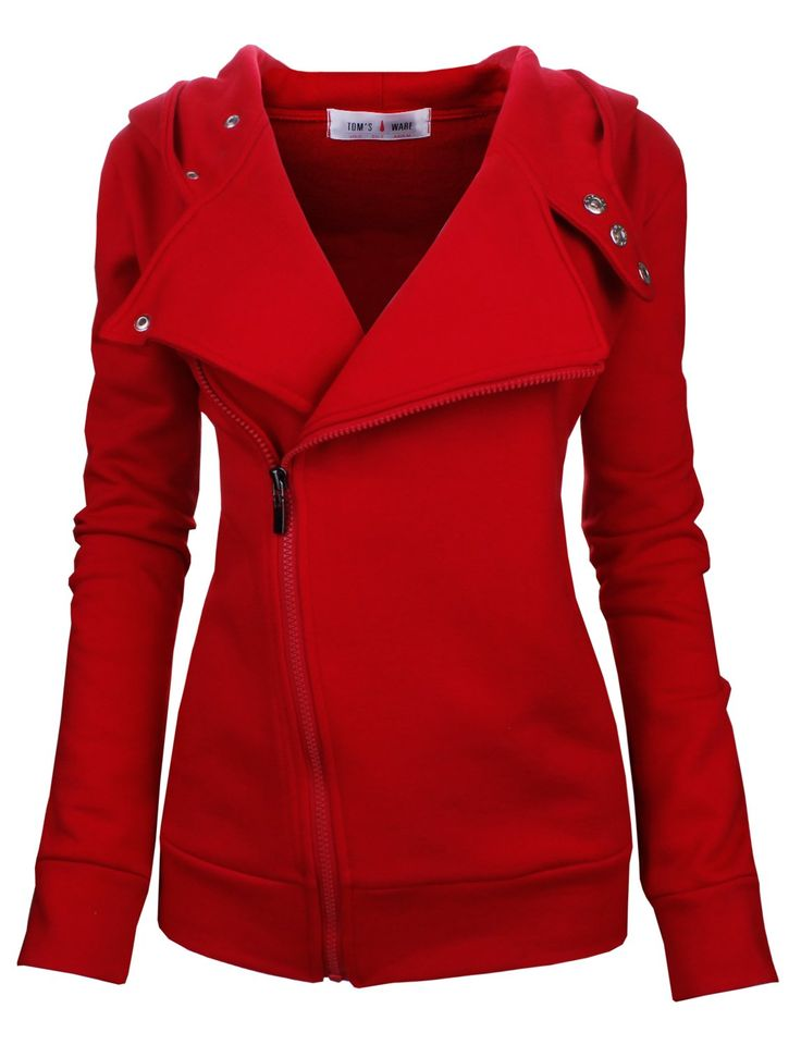 Tom's Ware Women Slim Fit Red Zip-up Hoodie Jacket With Lapel jewel tone #UNIQUE_WOMENS_FASHION