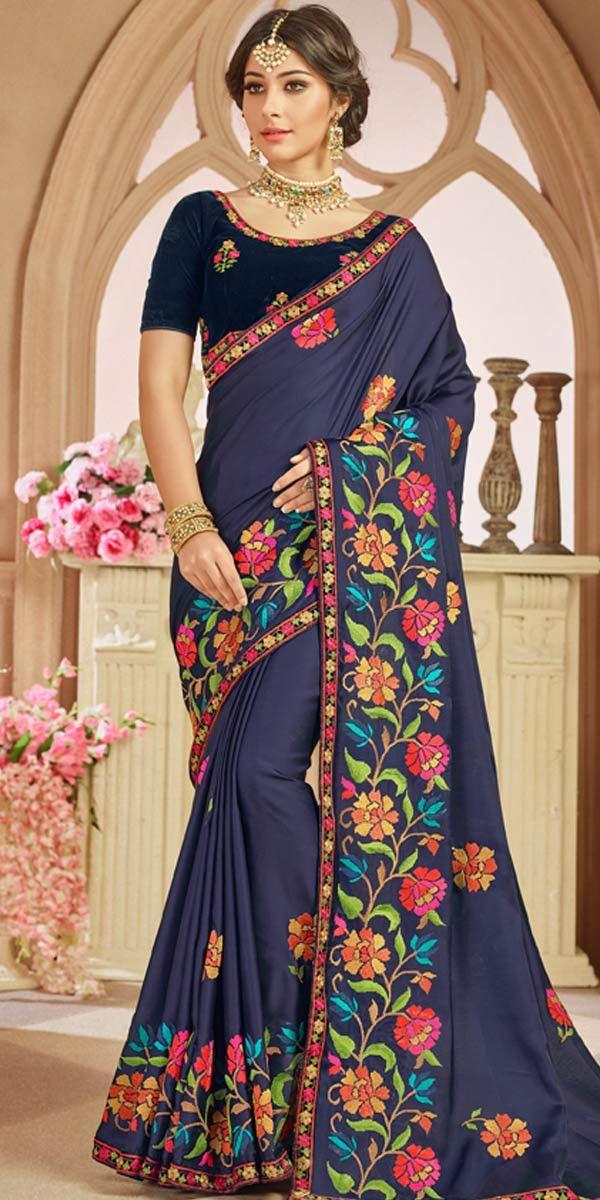 dca048de24 Amazing Navy Blue Crepe Silk Saree. | Buy Saree Online | Crepe silk ...