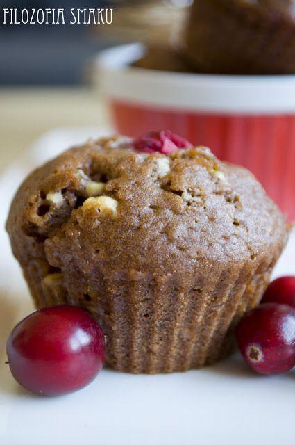 Czekoladowe muffinki z żurawiną | Filozofia Smaku