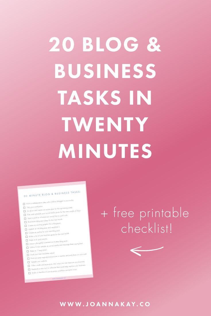 20 minute blog & business Tasks, 20 productive business tasks, blogging tasks you in can do in 20 minutes!